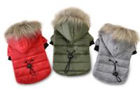 mascotas de piel al por mayor-5 tamaño abrigo para perros mascotas invierno cálido ropa para perros pequeños para chihuahua piel suave capucha cachorro chaqueta ropa ropa de abrigo para perros