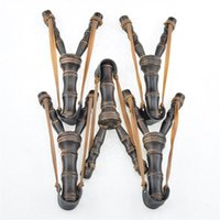 Wholesale new wooden toys online - Wooden Slingshot Bamboo Originality Novelty Games Wooden Catapult Hunting Props Style Sling Shot Toys Bow New Arrive gl Z