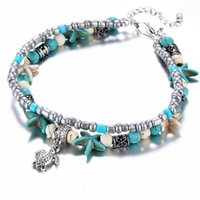 Wholesale handmade anklets women resale online - Vintage Shell Beads Starfish Sea Turtle Anklets For Women New Multi Layer Anklet Leg Bracelet Handmade Bohemian Jewelry