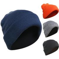 bouchons d'oreilles blanches achat en gros de-Bonnet tricoté à quatre épaisseurs pour hommes, automne-hiver, protégeant du vent et du froid et gardant les oreilles au chaud
