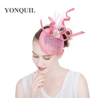 Wholesale lady fascinators - High Quality 17color Ladies Fascinators with pearl Racing Season Hats pink Sinamay Wedding Hat for Cocktail Party Event Occasion