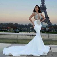 ingrosso abito in rilievo 14-Mermaid Wedding Dresses 2019 New Illusion Sexy Plunging Jewel senza maniche con perline Appliques Tromba cappella treno Abiti da sposa abiti