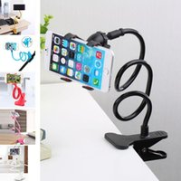 Wholesale flexible desk lights - 2018 New Universal Long Arm Lazy Mobile Phone Gooseneck Clip Holder Flexible Desk Bed Stand Bracket 360 Rotating For iphone