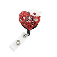 Wholesale retractable id badges - Red rhinestone RN Retractable ID Name Tag Badge reel
