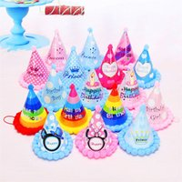 Wholesale Cartoon Birthday Caps - Cartoon Boys And Girls Cap Party Decorate Supplies Creative Children Happy Birthday Hat Multi Color 1 18wp C R