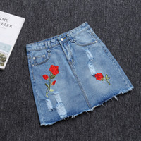 Wholesale Get Thin - Wholesale- 2017 jeans skirt getting new hole in cowboy denim skirt burrs leisure show thin embroidered bust the skirts womens