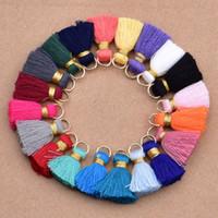 Wholesale diy tassels for earrings for sale - Group buy 2CM Tassel Charms Pendant Fit Bracelet Necklace Earring Charm Pendant Satin Tassels For DIY Jewelry Colors