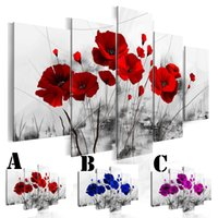 Wholesale wall color art for sale - Wall Art Picture Printed Oil Painting on Canvas Unframed set Home Decor Extra Mirror Border Three Color Poppies Flower