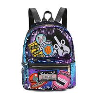 sacolas para laptop sequin venda por atacado-Mochila Mulheres Cão Bordado Lantejoulas Mochilas De Couro Mochilas Escolares Para Meninas Adolescentes Laptop Mochila