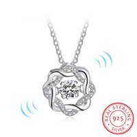 Wholesale east dance - Fashion Classic Rotate Dancing CZ Stone 925 Sterling Silver Pendant Necklace For Women Fashion Jewelry Gift For Love