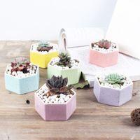 ingrosso vaso di bonsai in ceramica-Vasi di bonsai di ceramica di vendita calda mini vasi da fiori multicolore casa desktop fioriere succulente forniture da giardino decorazione ufficio camera da letto