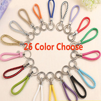Wholesale valentines day gifts ring chain online - 26 Colors Mobile Phone Straps Key Chain Car Pendant Weave Key Ring Men And Women Key Chain Valentine Day Gifts WX9