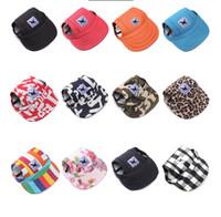 sporthaustierentwürfe großhandel-Haustiere Hund Caps Leinwand Hut Sport Baseballmütze mit Ohrlöcher Sommer Outdoor Wandern Visier Hüte Welpen Haustier liefert 12 Designs