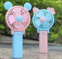 Wholesale usb powered fans - Cute Foldable Hand Fan USB Power Rechargeable Handheld Mini Fan with Hanger Kids Gifts Toys DDA189