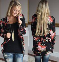 ingrosso top boho nero-Le donne allentano Outwear Boho stampa floreale a maniche lunghe Wrap Cardigan nero Casual Slim Coat Top Taglie S-3XL