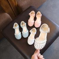 голубые летние сандалии оптовых-Горячо !!! Дети девушки сандалии лето выдалбливают жемчужина Детская обувь сандалии мода принцесса новорожденных девочек сандалии обувь небесно-голубой белый розовый