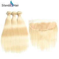 sarışın saç telleri toptan satış-Silanda Saç Kaliteli # 613 Sarışın Düz Remy İnsan Saç Dokuma Paketler 13X4 Dantel Frontal Kapatma Ücretsiz Kargo Ile 3 Örgüleri