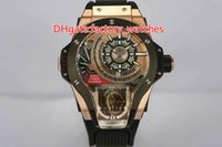 Wholesale Watch Skeleton Swiss - Luxury Brand Basel MP-09 Rose Gold Sport Tourbillon Swiss Automatic big size Men's Watch Skeleton Dial Black Rubber Strap Mans Wristwatche