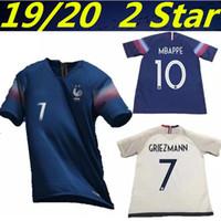 jerseys europeos de fútbol al por mayor-19 20 Nuevo Campeonato de Europa de Francia de 2 estrellas GRIEZMANN MBAPPE Maillot camiseta de fútbol francesa 2020 KANTE POGBA Maillot de pie