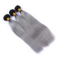 Wholesale virgin gray hair weft resale online - 9A b Grey Ombre Brazilian Virgin Human Hair Extensions Ombre Gray Peruvian Malaysian Indian Cambodian Straight Hair Weave Bundles