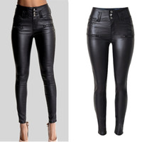 seksi siyah gömlek deri pantolon toptan satış-Kadın seksi suni deri streç sıska pantolon bayan siyah yüksek belli ince kot pantolon