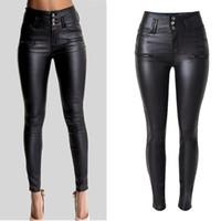 ingrosso jeans neri per le signore-Pantaloni skinny attillati elasticizzati in vera pelle da donna. Pantaloni jeans a vita alta neri a vita alta