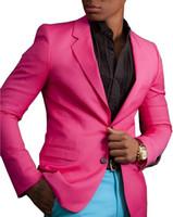 los hombres de esmoquin de color rosa caliente al por mayor-Solovedress Hot Pink Mens Suit Blazer con pantalones azules Boda joven trajes Prom Tuxedo para hombres