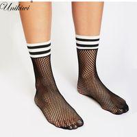 Wholesale High Heels Stripes - UNIKIWI.Chic Women's Harajuku Black Breathable Mesh Fishnet Socks.Sexy Hollow out Stripe Nets Socks Ladies High Heels Sox