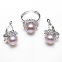 lila perlensets großhandel-Echt Natürliche Süßwasser Zuchtperlen Schmuck Sets Rosa Lila Perle Blume Ringe ohrringe zirkonia Hochzeit Braut Geschenke