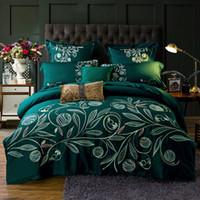 kral yorgan örtüsü pamuklu yeşil toptan satış-4 adet 100% Pamuk 60 S Saten çarşaf kraliçe kral yeşil yatak setleri lüks işlemeli nevresim nakış çarşafları kapakları