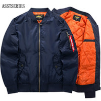 Wholesale air bomber jacket for sale - Bomber Jacket Men S Fashion Thick  Warm Autumn Winter d699aa58b73