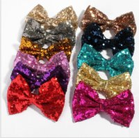 Wholesale diy hair clip accessories - Sequin Bow DIY Headbands Accessories Baby Boutique Hair Bows without Alligator Clip Messy sequin bows without clips hair accessory KKA4061