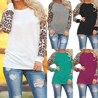 en iyi artı boyutu giysiler toptan satış-10 Renk S-5XL Artı Boyutu Kadın Bahar Sonbahar Giyim T-Shirt Rahat Uzun kollu Leopar ekleme Pamuk T-shirt Bluzlar En