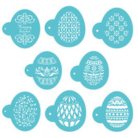 Wholesale Coffee Stencils - Plastic Cake Printing Mold Durable Easy To Clean Cookie Stencils Useful Easter Egg Shape Coffee Art Template Blue 7 2yb B