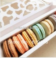 Wholesale Valentine Packages - Wholesale-Luxury White Long Hollow Macaron Box Cupcake Container Valentine Chocolates Packing Box Baking Package