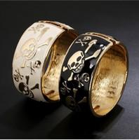 ingrosso braccialetti donna di qualità-Braccialetto di qualità braccialetto del cranio del cranio di modo Braccialetti del braccialetto delle donne Braccialetto di punk nero bianco di Halloween