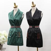 ceintures formelles de marque supérieure achat en gros de-2017 nouvelle arrivée femmes vert et noir gilet robe formelle gilet pour femme et nouvelle mode top avec ceinture