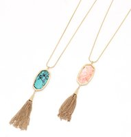 Wholesale wholesale turquoise flowers online - New Geometric Sanke Chain Tassel Chain Turquoise Pink Colors Long Pendant Sweet Simple Necklace