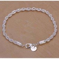 verres de murano achat en gros de-4mm 925 Sterling Silver Mode Twist Corde Chaîne Bracelet pour Femmes Hommes Partie Bracelet Charmes Européens Bracelets Fit Murano Lunettes Perles