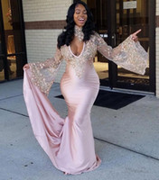 Wholesale Dresses Winter For Girls - Illusion Long Sleeve Amazing Mermaid Pink Prom Dresses 2018 African Beaded Lace Prom Dress for Black Girl Evening Dresses with Choker BA7635