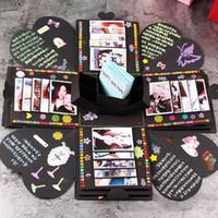 álbumes de la boda al por mayor-Creativo caja de explosión de bricolaje papel colorido álbum de fotos decoraciones Scrapbooking para el día de San Valentín caja de boda fiesta de cumpleaños