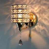 ingrosso moderne lampade da parete in acciaio inox-Pull Chain Switch Crystal Wall Lamp Lights Modern Zipper Base in acciaio inox Illuminazione Applique Lamparas De Pared