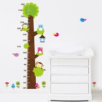 stickers muraux enfants achat en gros de-90 * 60CM hibou singe papillon fleur arbre croissance graphique wall art décorations pour la maison animaux autocollants dessin animé enfants stickers muraux