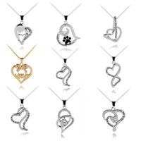 Wholesale christmas day ideas - I Love Mom heart jewelry Gift Great Mama Heart Pendant letter Necklace Silver Plated Jewelry mother day gift ideas drop ship 380010