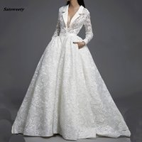 Wholesale gown brooch design resale online - Special Design Lace Long Sleeves Chic Ball Gowns Wedding Dress Custom Made Venice Lace Puffy Illusion Removable Pieces Bridal Dress
