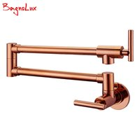 Wholesale Polished Gold Faucets - Bagnolux Wholesale Solid Brass Kitchen Wall Mount Pot Filler Faucet Swivel Spout Cold Water Only With Dual Swing Rose Gold Tap