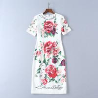ipek baskı elbiseleri toptan satış-2018 Şakayık çiçek Baskı Ipek Pist Elbise Moda Kısa Kollu Yaz Kadın Elbise Milan Pist Kıyafeti DH49