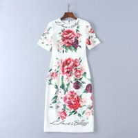 ingrosso peonia s-2018 Peony flower Stampa Silk Runway Dress Moda manica corta Summer Women Dress Milano Runway Gown DH49