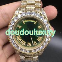 homens relógios de ouro verde venda por atacado-Moda diamante relógio dos homens 2018 novo verde grande rosto 43mm gelado top hip hop estilo rap relógios de alta qualidade relógio de varredura automática