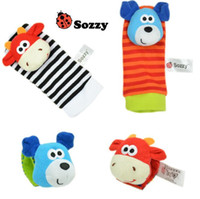 Wholesale zebra sock animal online - 6 Styles set Baby Rattle Toys Zebra Plush Wrist Toys Kids Cute Foot Socks Cartoon Animal Wristband Baby Birthday Gifts CCA10118 set